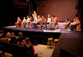 "Photo: Ron Peluso, History Theatre, leads post-play discussion with actors and ""Minnesota 8"""