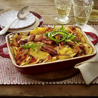 Baked Ravioli with Ham and Rich Tomato Sauce.