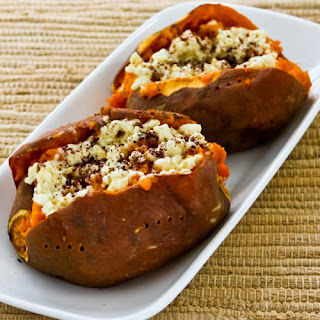 Twice-Baked Sweet Potatoes Recipe with Feta and Sumac (Gluten-Free, Meatless).