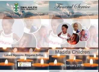 The programme for the funeral of the four Maditla children, who were found murdered in their home in Klarinet, Witbank, in December.