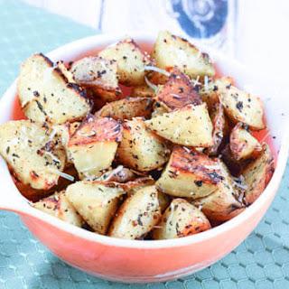 Oven Roasted Garlic Herb Parmesan Potatoes.
