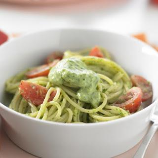 Spaghetti with Creamy Cilantro Pesto.