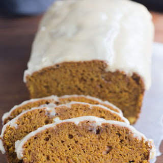 Pumpkin Bread with Brown Butter Maple Glaze.