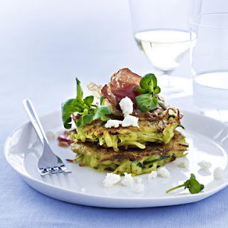 Zucchini Fritters with Watercress, Feta and Pancetta