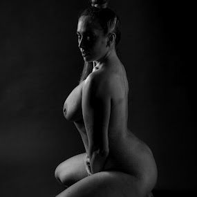 by Vincent Yates - Nudes & Boudoir Artistic Nude ( sitting, nude, black and white, art, tattoo, posed,  )