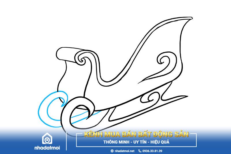 Vẽ 2 đường cong tạo thành bánh xe trượt tuyết