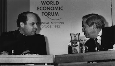 """Photo: DAVOS/SWITZERLAND, JAN 1992 - Nawaz Sharif, Prime Minister of Pakistan, with Karl Otto Pöhl, President of the Federal Bank of Germany, at the Annual Meeting of the World Economic Forum in Davos in 1992.Copyright <a href=""""http://www.weforum.org"""">World Economic Forum</a> (<a href=""""http://www.weforum.org"""">http://www.weforum.org</a>)"""