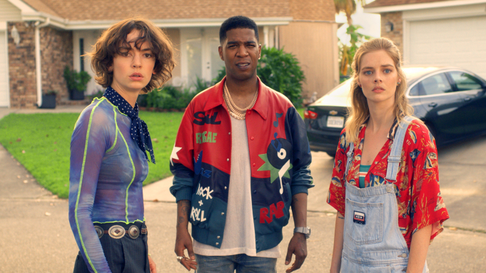 Thea (Samara Weaving) and Billie (Brigette Lundy-Paine) meet with Kid Cudi thanks to time travel in Bill and Ted Face the Music.