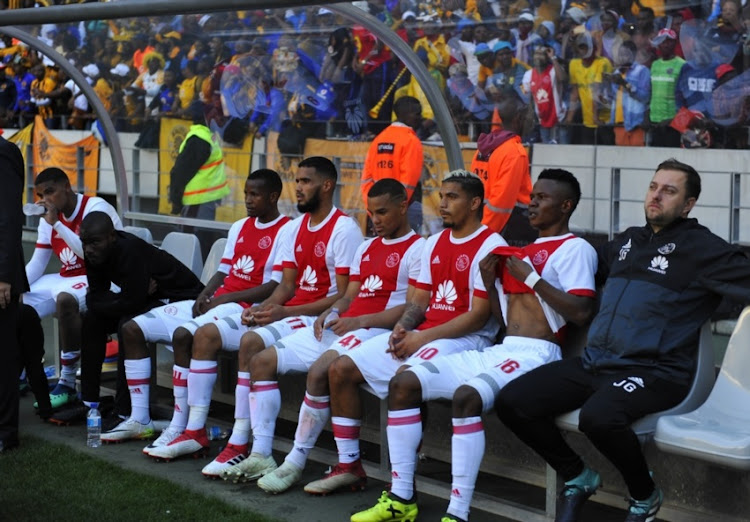 General view of Ajax players looking dejected after the Absa Premiership match between Ajax Cape Town and Kaizer Chiefs at Cape Town Stadium on May 12, 2018 in Cape Town, South Africa.