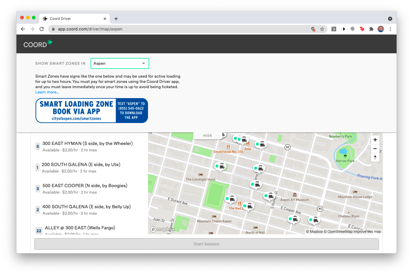 A screenshot of the Coord Driver web app