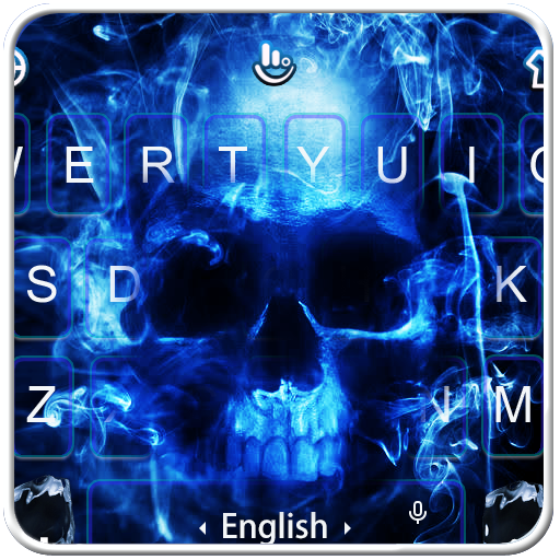 Neon Blue Hell Skull Flame Keyboard Theme