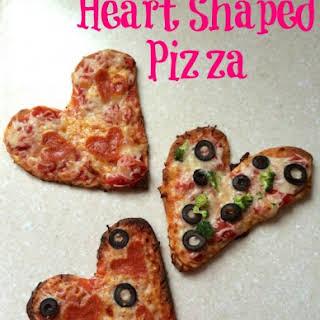 Mini Heart Pizzas.