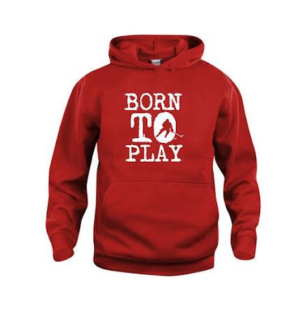 Hoodie - Born to play - Utespelare, röd