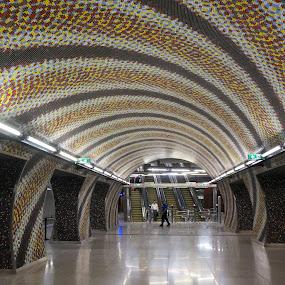Metro platform by Sámuel Zalányi - Buildings & Architecture Other Interior ( subway, metro, budapest, escalators, platform, hungary,  )