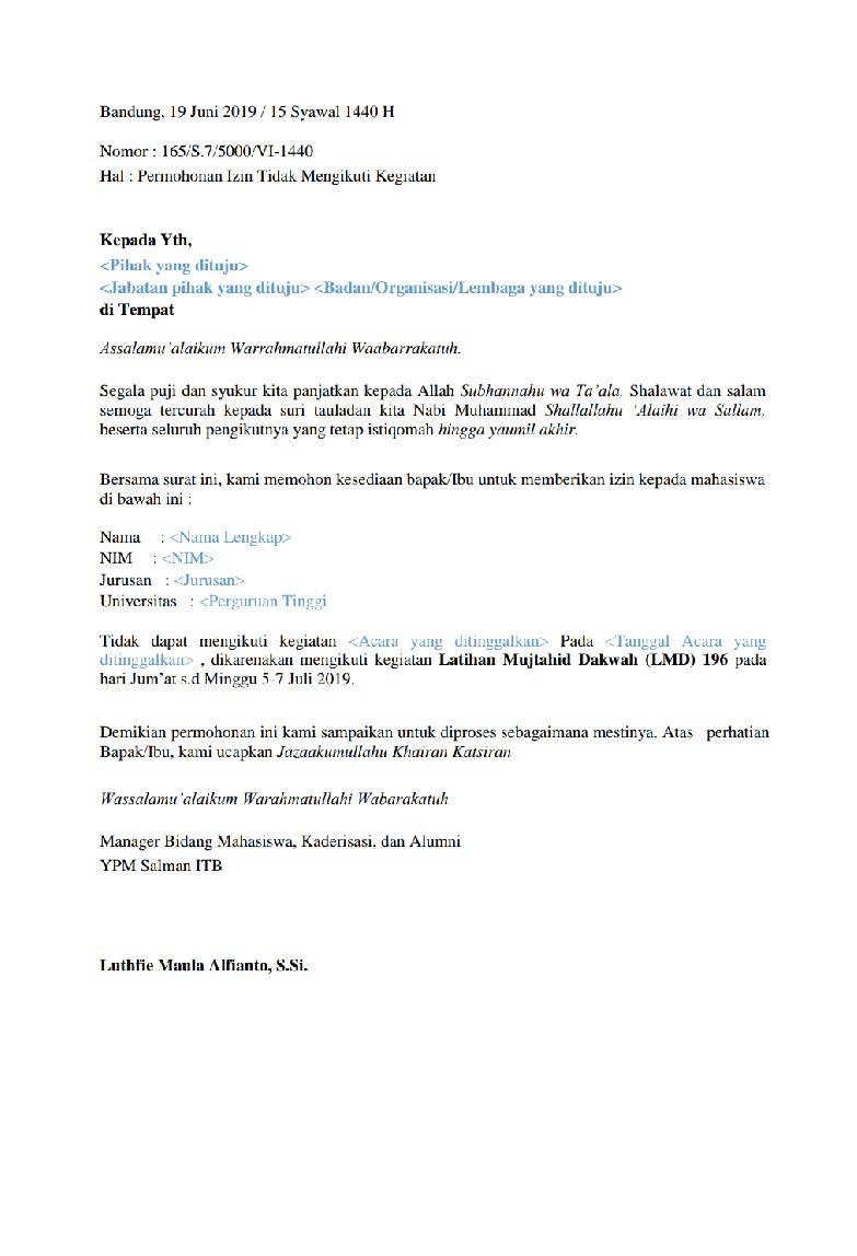 Harap isi data dengan memperhatikan format surat berikut