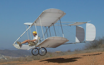Photo: The Pig (Primary Instruction Glider) is making it's first flight down the training hill on October 18, 2007, in San Diego, California. This is a two axis glider, controlled by elevator and rudder, with no ailerons. It was launched by rolling down the slope on its two BMX bicycle wheels.