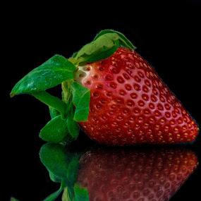 Strawberry #7 by David Kreutzer - Food & Drink Fruits & Vegetables ( reflection, fruit, food, strawberry )