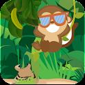 Jumping monkey banana icon