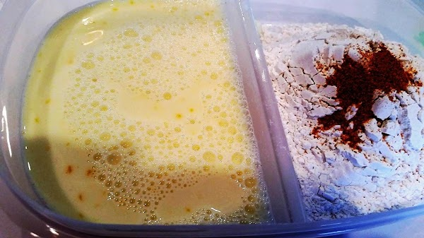 Mix egg with milk in a dish and have a dish ready with flour...