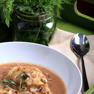 WHITE BEAN AND MUSHROOM SOUP WITH DILL-PEPPER DUMPLINGS