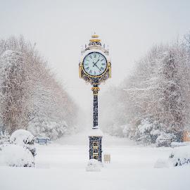 Time for snow by Baltă Mihai - City,  Street & Park  City Parks ( winter, park, clock, snow, bucuresti, romania )