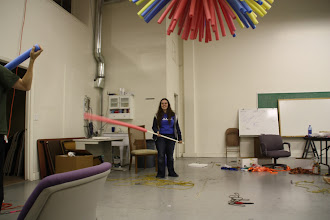 Photo: Hitting people and things with spare pool noodles is important work