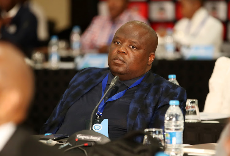 "Chippa United chairman Siviwe ""Chippa"" Mpengesi during the Premier Soccer League August 2019 Board of Governors meeting at OR Tambo International Airport's Southern Sun hotel in Johannesburg."