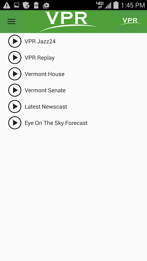 VPR Android App- screenshot