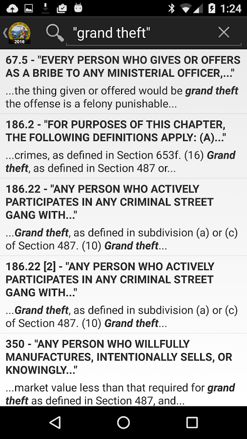 2016 CA Penal Code- screenshot