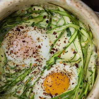 Cream Baked Eggs with Asparagus and Herbs.