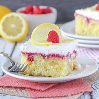 Lemon Raspberry Poke Cake.