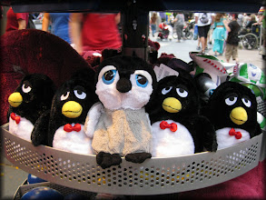 Photo: Carlisle hangs out with several Wheezy penguins from Toy Story.