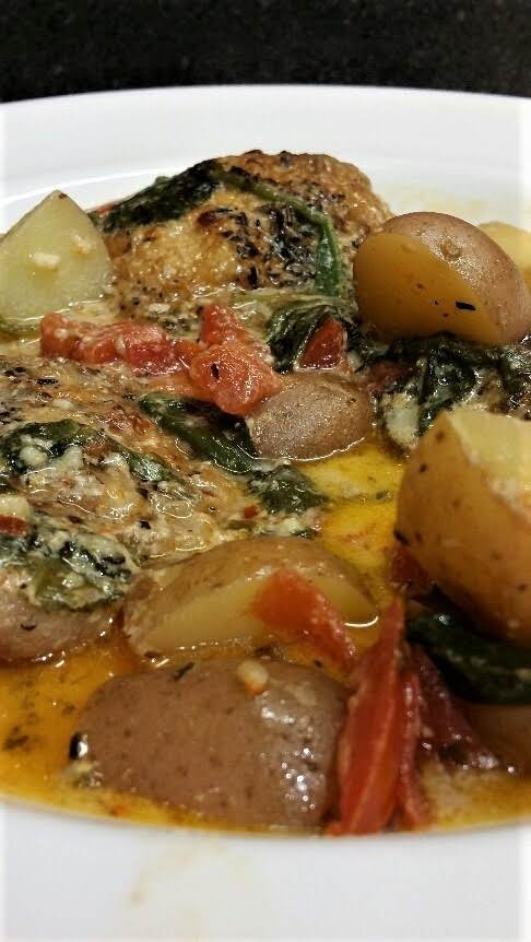 Chicken And Potatoes In A Parmesan Cream Sauce