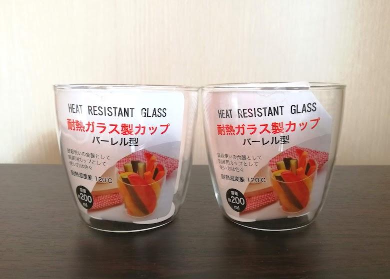 セリア耐熱ガラス製カップ バーレル型