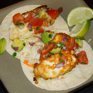 Beer Battered Fish Tacos with Tomato Avocado Salsa