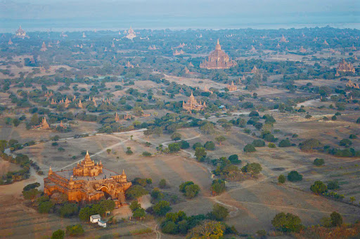Bagan-at-daybreak.jpg - Bagan, Myanmar, seen at daybreak from a hot air balloon.