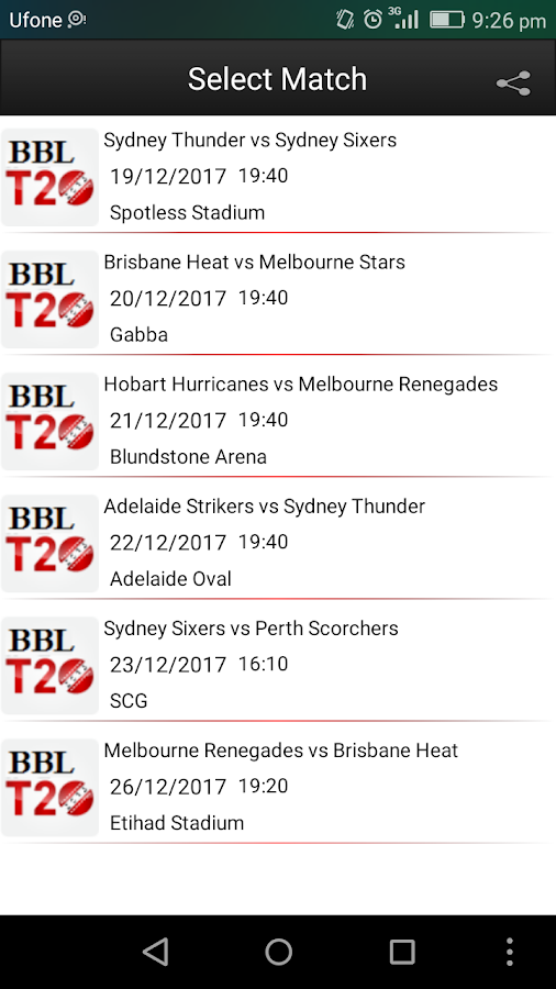 Screenshots of BBL 2017/2018 Prediction for iPhone
