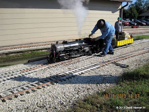 Photo: Pete Greene with Texas State RR 400 all steamed up     HALS Run Day DH3