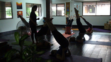 Photo: Jeenal Mehta instructing the students to perform Vipritkarni Asana (Retrofusion pose) in the morning Asana class.