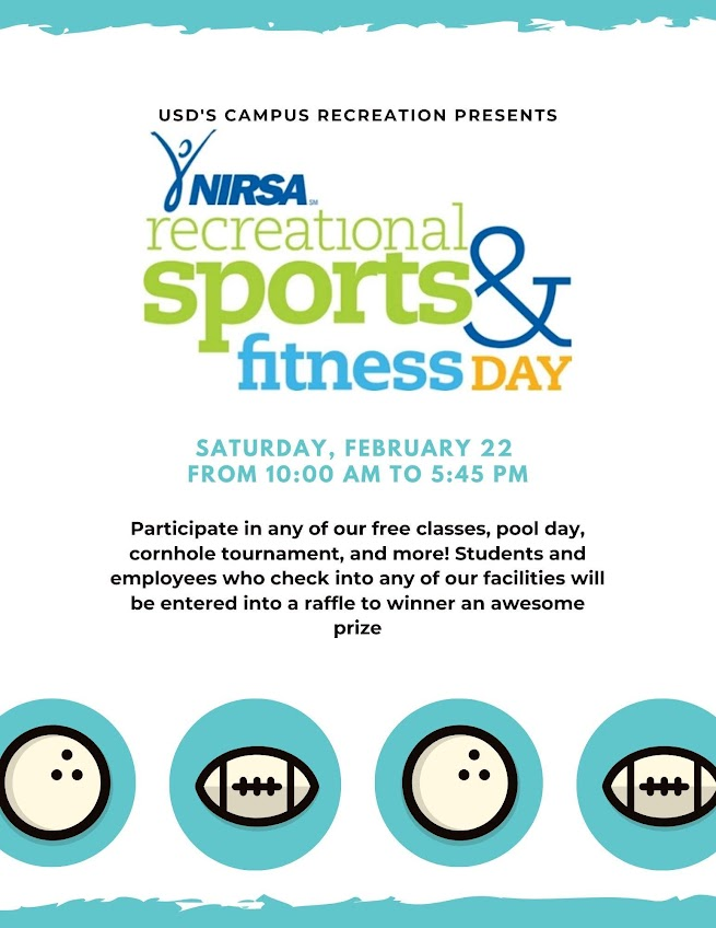 NIRSA Recreational Sports & Fitness Day at USD, Saturday, Feb 22 from 10am-5:45pm