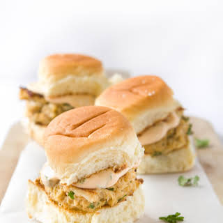 Crab Cake Sliders with Spicy Aioli Sauce.