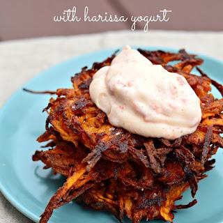 Sweet Potato Latkes with Harissa Yogurt