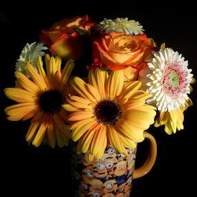 Minion Mug Bouquet by Kathy Rose Willis - Flowers Flower Arangements ( black background, mug, yellow gerberas, bouquet, minion, white, roses,  )
