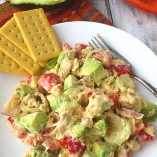 Healthy Salmon Salad With Mustard Honey Sauce.