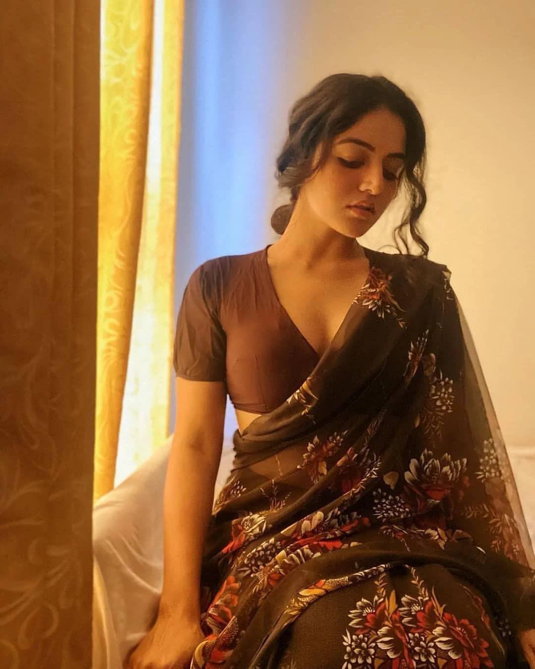 Wamiqa Gabbi latest brown saree photos Navel Queens