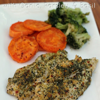 Baked Chicken with Garlic, Basil & Parsley.
