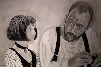 Photo: Dessin A3 crayon d'une scène improvisée entre Mathilda et Léon du film Léon. (Natalie Portman et Jean Réno)