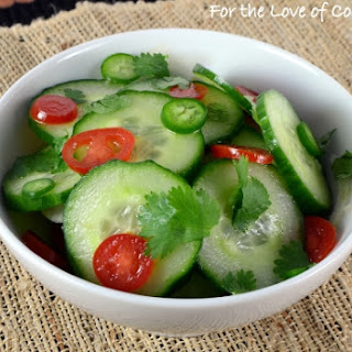 Spicy Asian Cucumber and Tomato Salad with Cilantro.