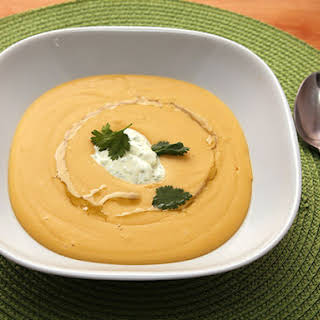 Easy 30-Minute Red Lentil Soup With Curry Yogurt.