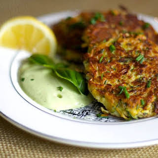 Zucchini Fritters With Lemon Basil Cashew Cream [Vegan].